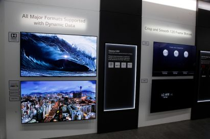 Inside the demonstration zone for LG's TV technology, with several TV screens displaying vibrant, crystal-clear imagery
