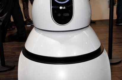 A closeup of the LG CLOi Airport Cleaning Robot's front