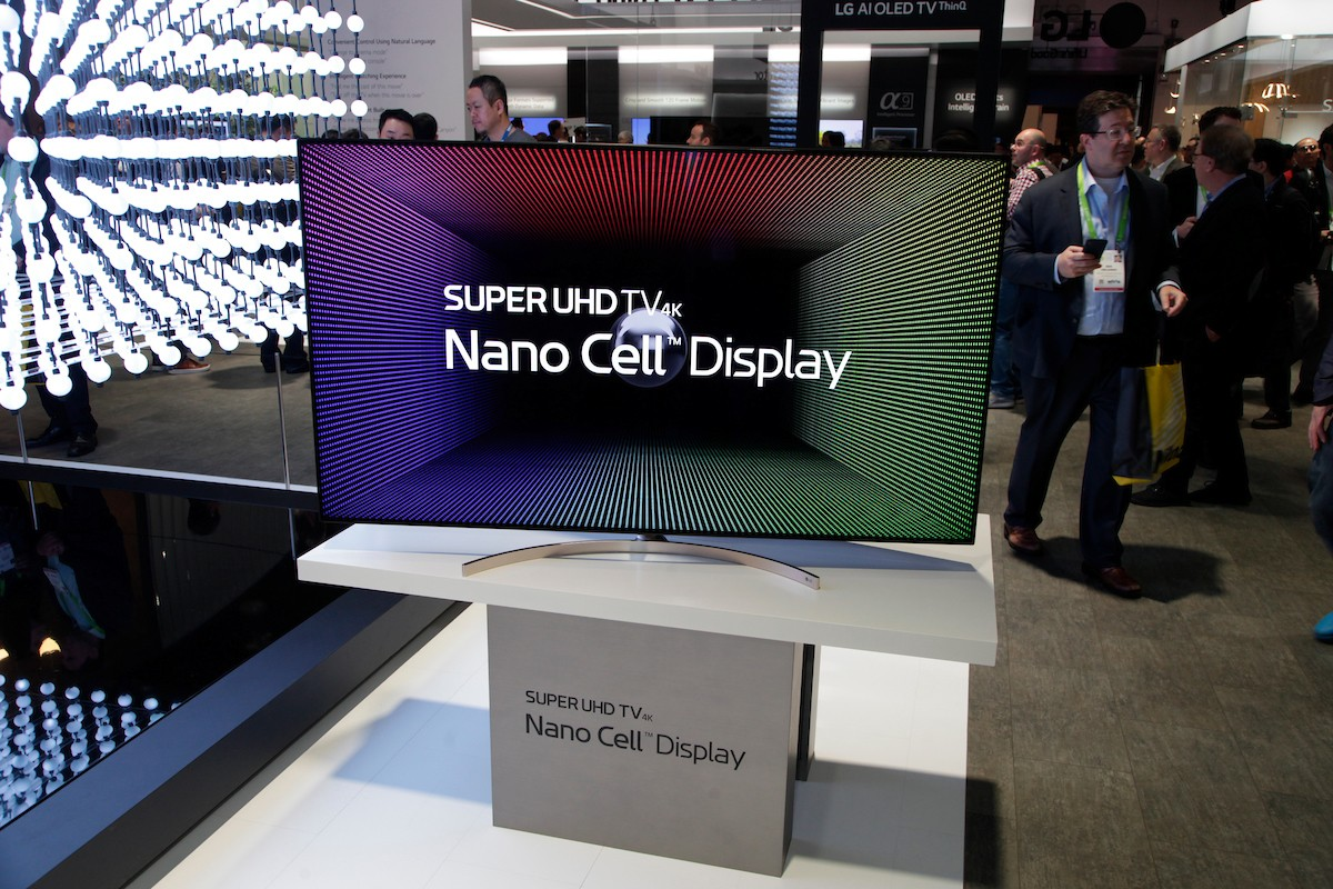 LG's SUPER UHD TV with Nano Cell display technology on display at the Nano Cell Display highlight zone during CES 2018.