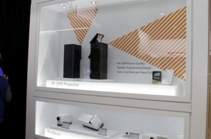 LG's 4K UHD projector gallery showcases the incredible lineup, with the 4K UHD Projector, MiniBeam and ProBeam placed inside a glass display.
