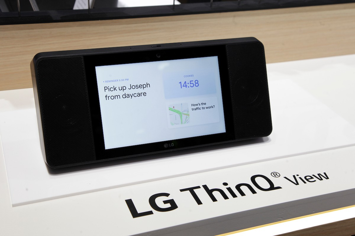 Another side view of the LG ThinQ View Smart Speaker with Google Assistant WK9