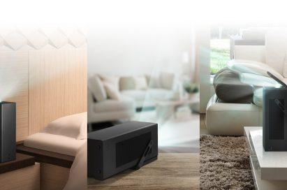 Series of three images showing LG's 4K UHD projector positioned in different places around the home: on a beside cabinet, a shelf, and a coffee table