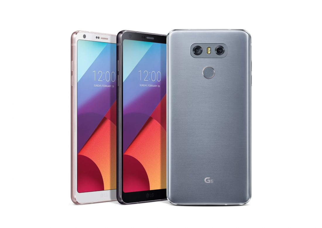 Rear view of an LG G6 and front view of two LG G6 phones showing three color options