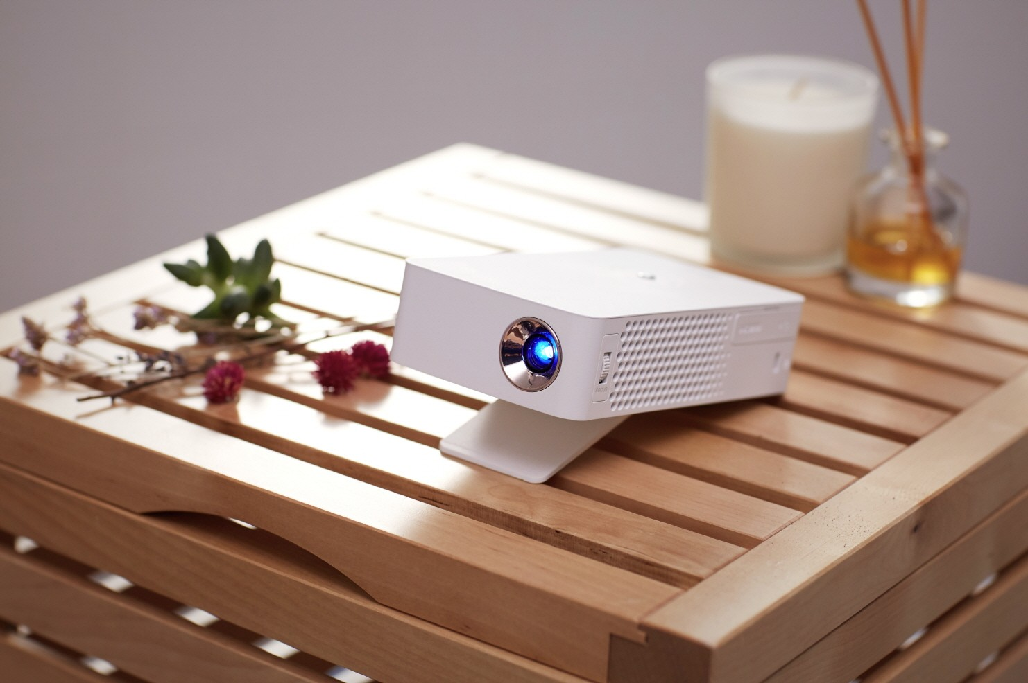 A close-up view of the LG MiniBeam Projector PH30J