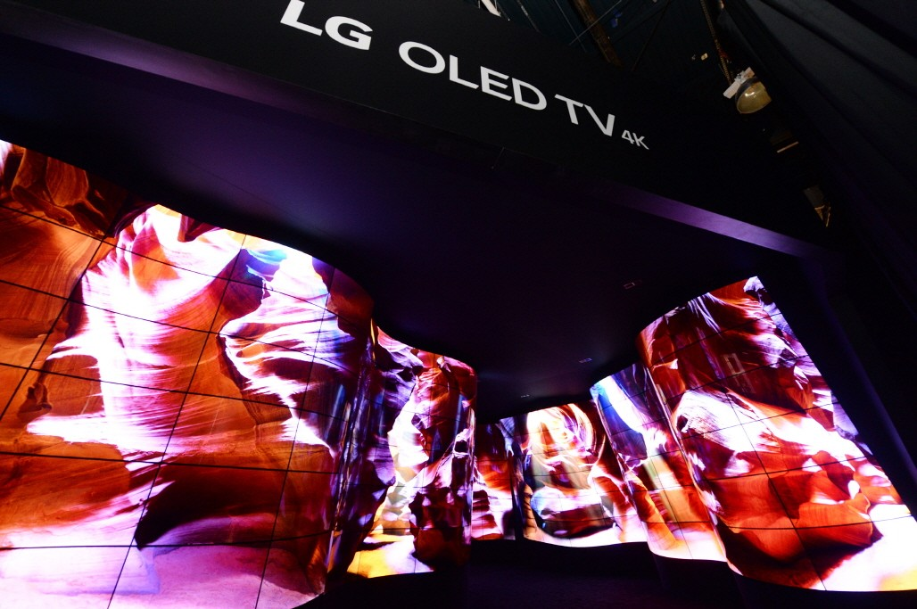 Entrance view of the LG OLED Canyon where beautiful desert scenes are displayed on a winding passage of connected OLED panels that span from the floor to the ceiling