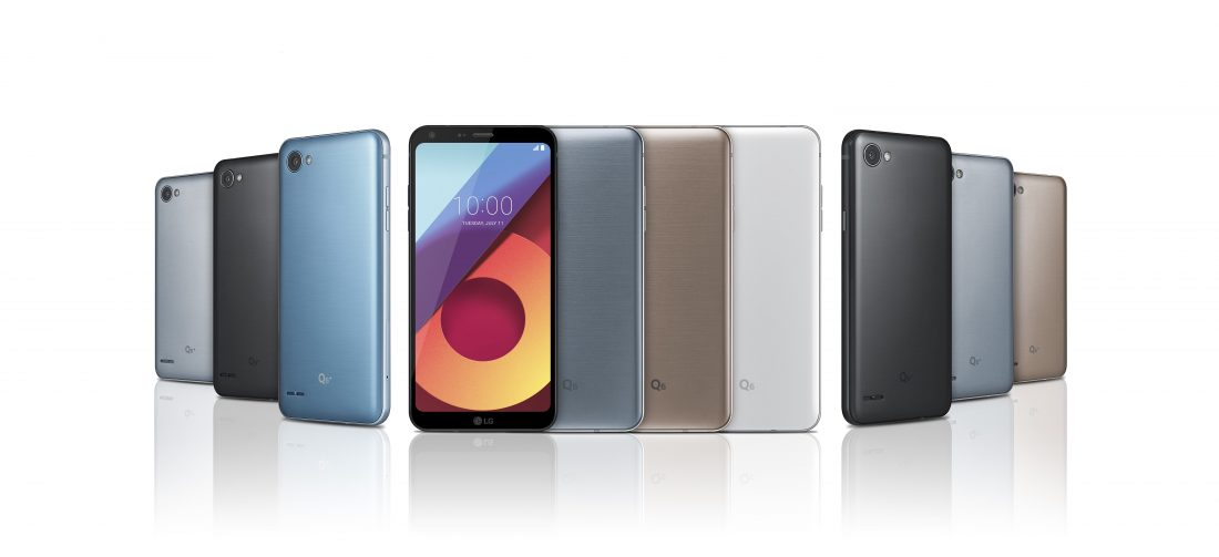 The LG Q6 phone with extra models pictured to show color options