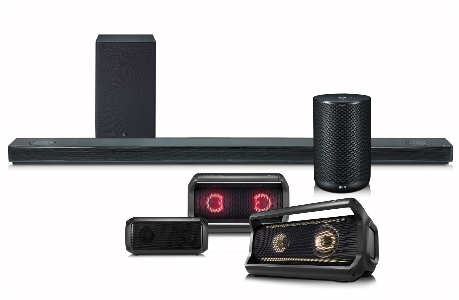 LG's Speaker Lineup including its LG SoundBar, Portable speaker and ThinQ Speaker
