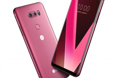 Two LG V30 smartphones in Raspberry Rose color positioned in a V shape, showing its front and back