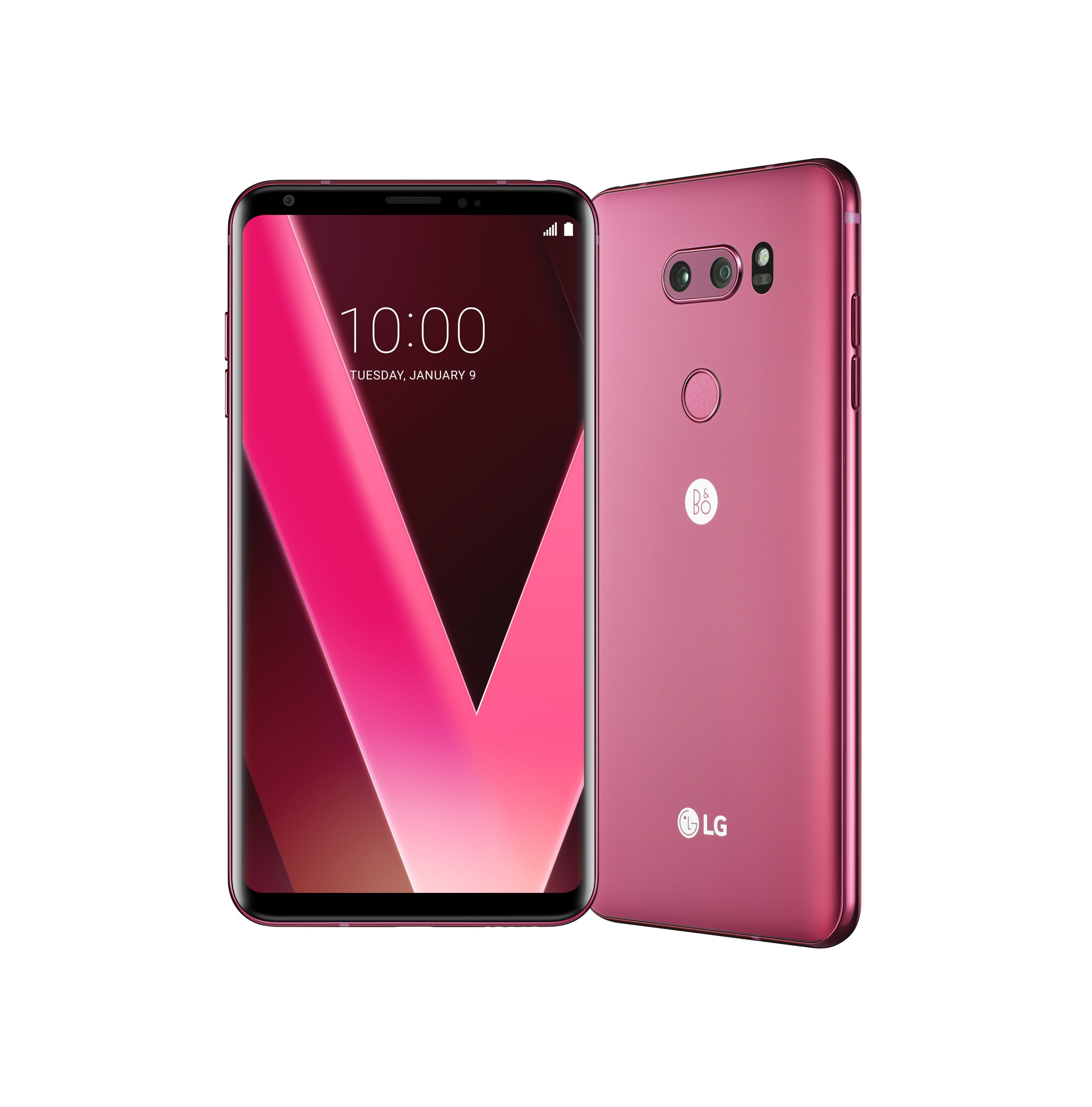 Two LG V30 Raspberry Rose smartphones side-by-side, one facing forward with display visible, and the other facing away and positioned at a slight angle
