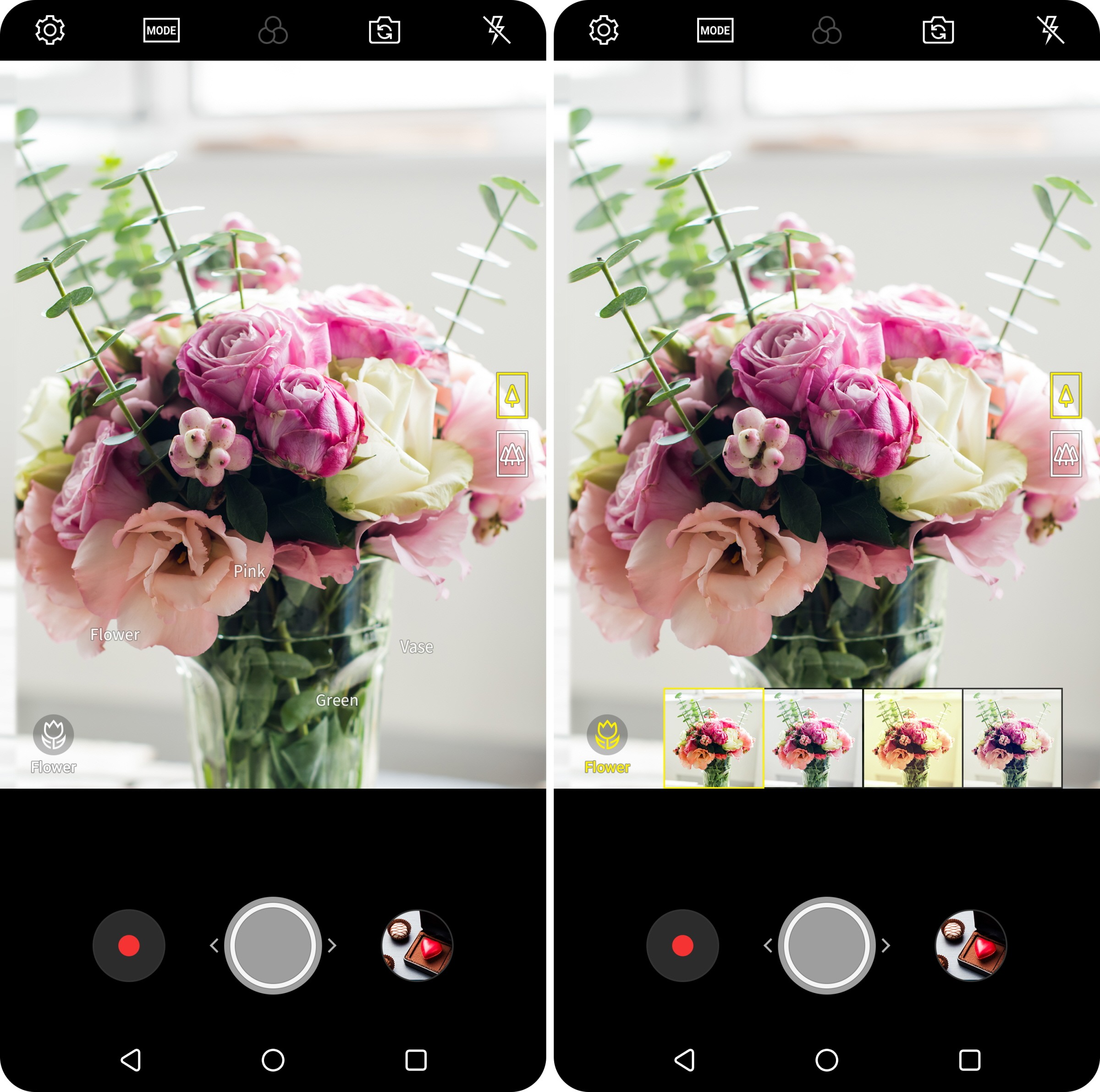 Screenshot of the LG V30's Vision AI, which can automatically analyze objects and recommend the best shooting mode