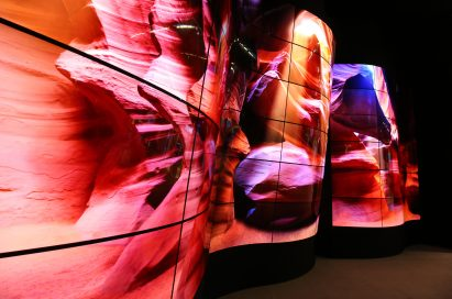 A view of the LG OLED Canyon displayed at ISE 2018
