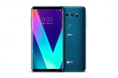 The front and rear view of the LG V30SThinQ in New Moroccan Blue side-by-side