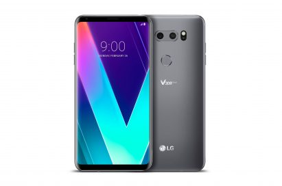 The front and rear view of the LG V30SThinQ in New Platinum Gray side-by-side