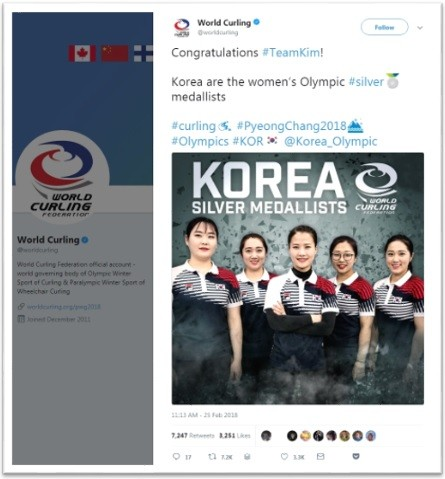 The photo shows the Tweeter account of World Curling Association celebrating on Team Kim's silver medal winning at PyeongChang Winter Olympics 2018.