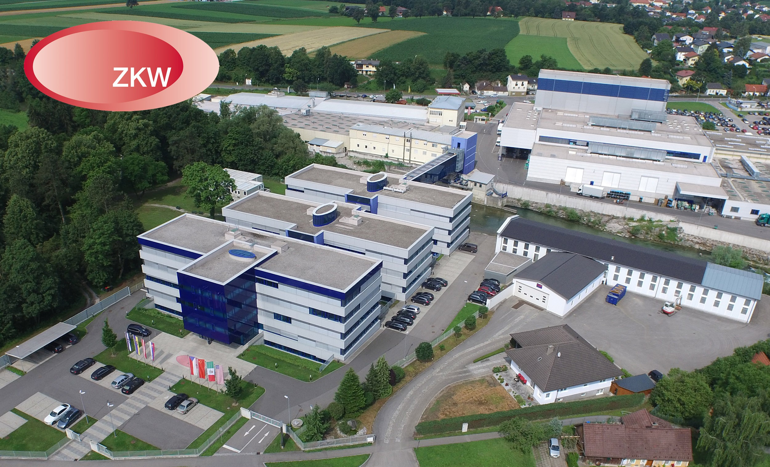 An aerial view of the premium automotive lighting company ZKW Group's Headquarters.