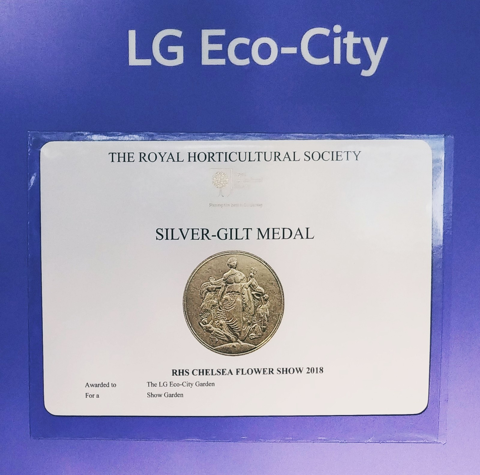 The Silver-gilt Medal awarded to LG Eco-City Garden at RHS Chelsea Flower Show 2018