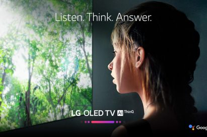 A promo shot for LG OLED TV AI ThinQ with a woman watching the TV's display with the slogan, 'Listen, Think, Answer