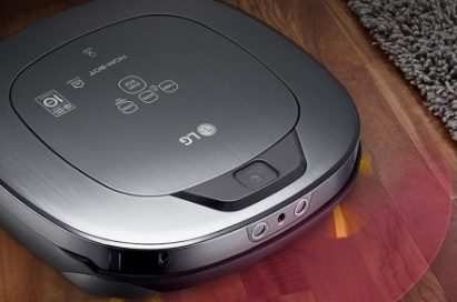 An upper view of LG HOM-BOT Wi-Fi with LG's DeepThinQ™ and Home-Guard capabilities