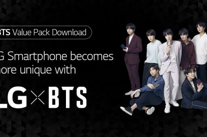 A promotional image of the LG x BTS project featuring every member of BTS