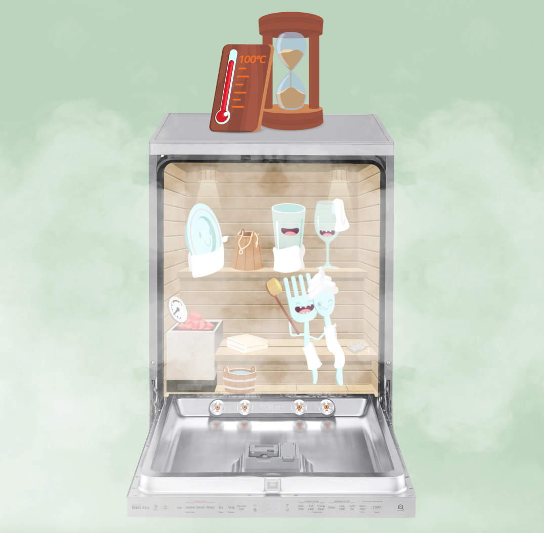 An image to explain how the TrueSteam technology helps LG's dishwasher eliminate dangers of foodborne illnesses