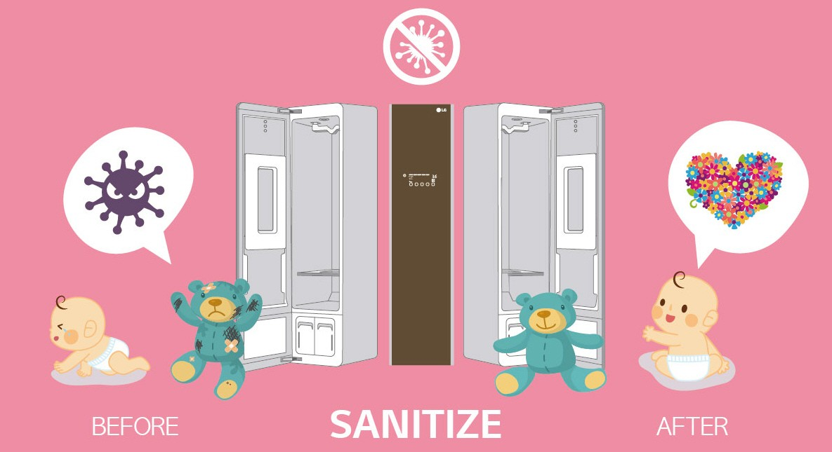 The infographic shows that the LG Styler sanitizes the comfort doll of a baby by using the Steam technology.