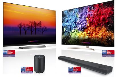 LG's AI ThinQ-enabled products including OLED TV, LG SUPER UHD TV, LG XBOOM and LG Soundbar with matching EISA AWARD logos