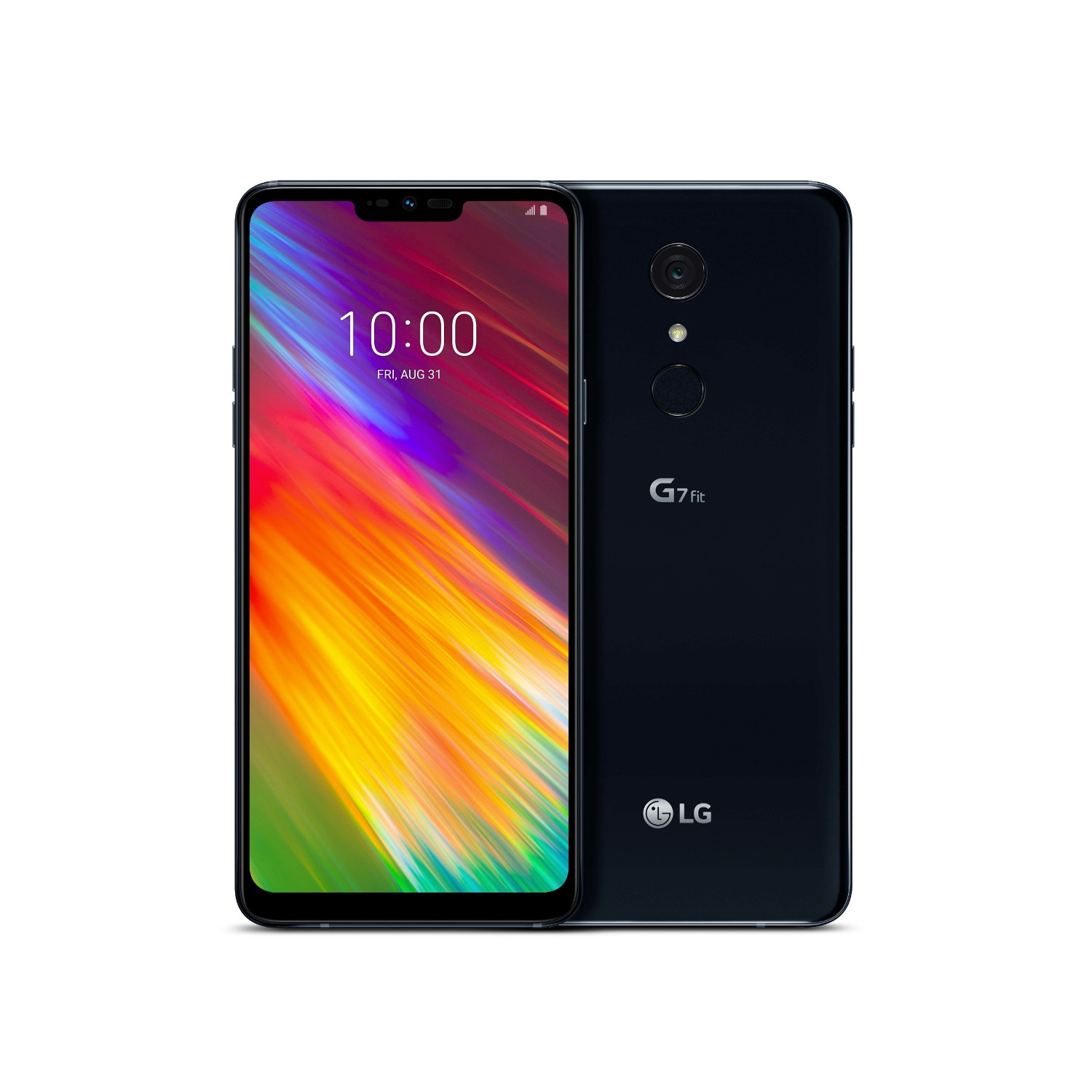 The front and rear view of the LG G7 Fit in New Aurora Black