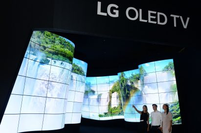 LG OLED Canyon - convex and concave commercial open-frame LG OLED panels.