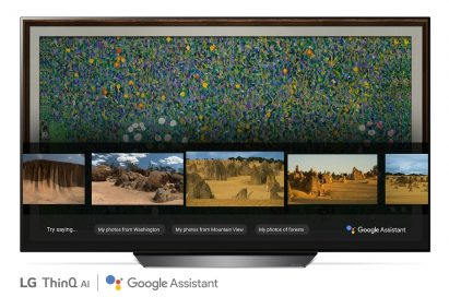A front view of LG OLED TV showing Google Assistant function