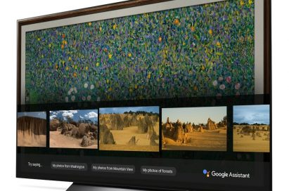 A right-side view of LG OLED TV showing Google Assistant function