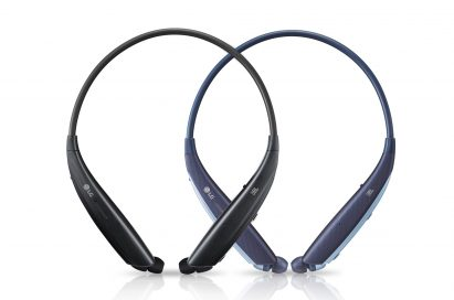 The top view of the LG TONE Platinum SE in Black and Blue, side-by-side