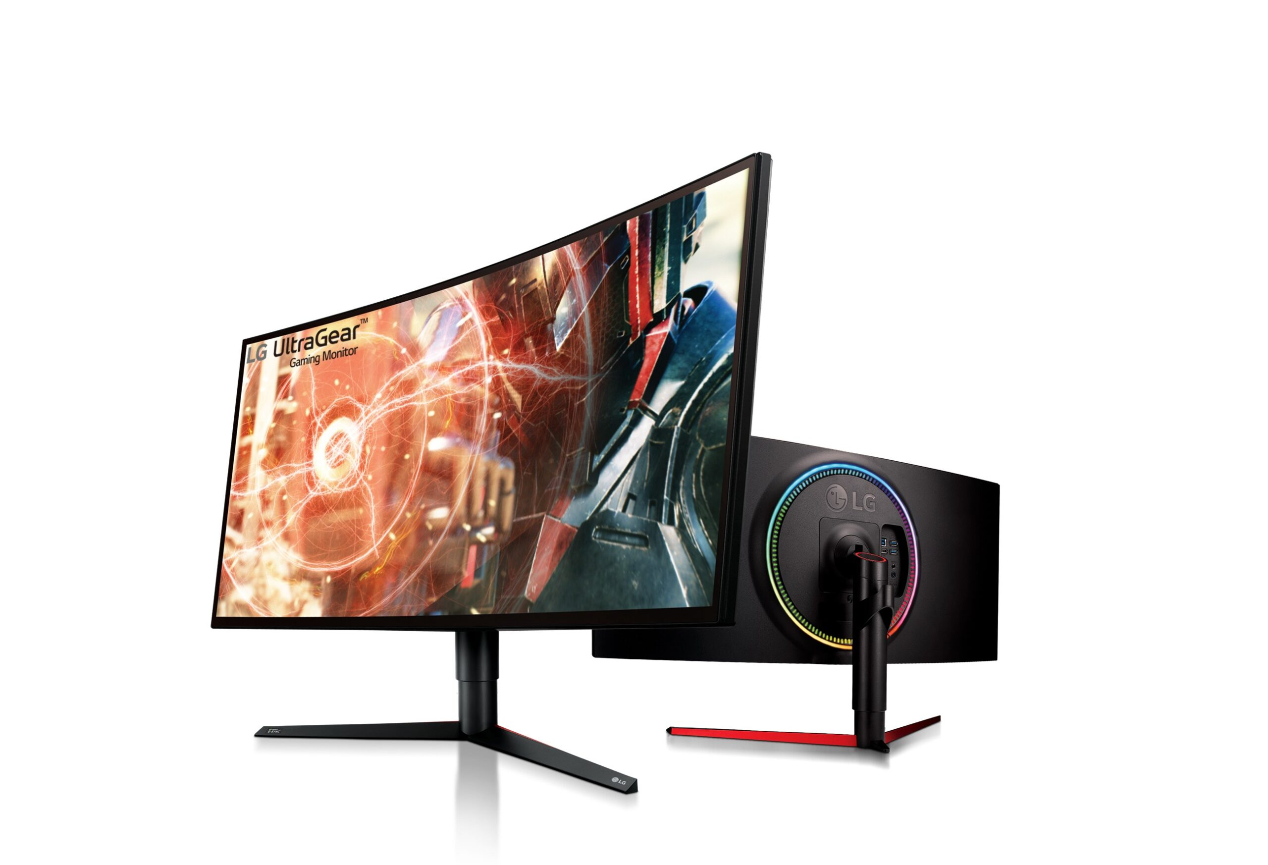 A right-side and rear view of LG UltraGear Gaming Monitor