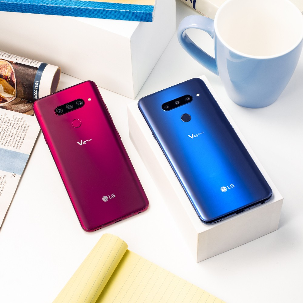 The rear view of the LG V40 ThinQ in Carmine Red and New Moroccan Blue