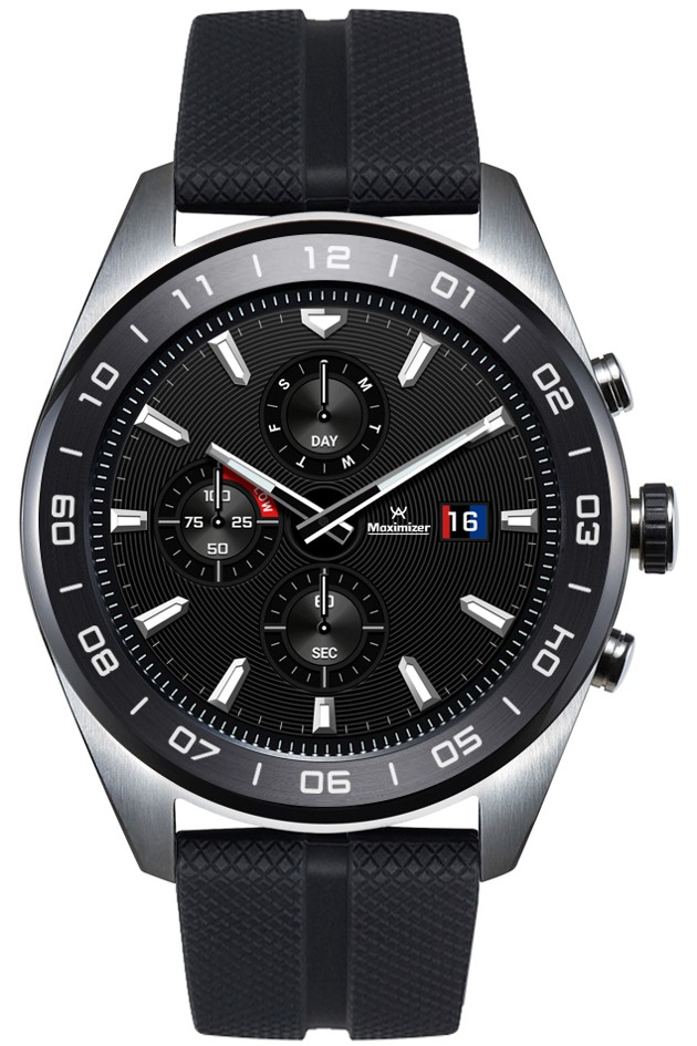 The front view of the LG Watch W7 in Cloud Silver