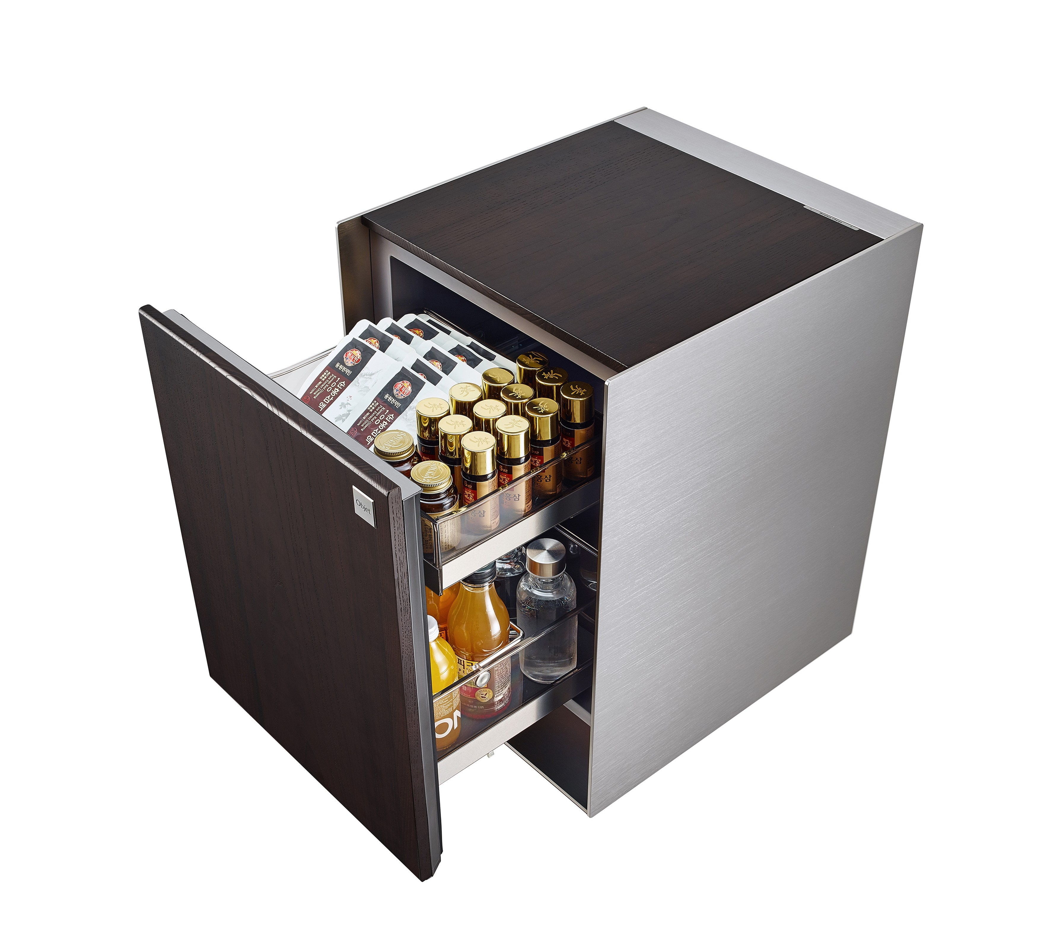 View of LG OBJET Refrigerator with door opened to reveal beverages and skincare products