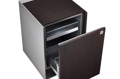 View of an empty LG OBJET Refrigerator with door open