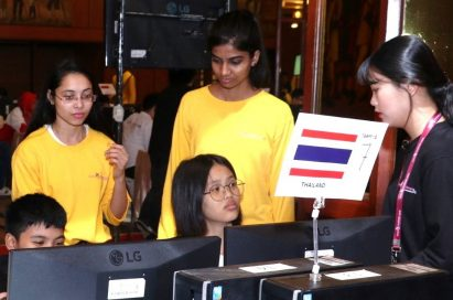 The team of Thailand look at the LG monitors