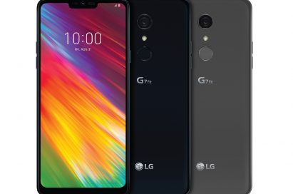 The front and rear view of the LG G7 Fit in New Aurora Black and New Platinum Gray