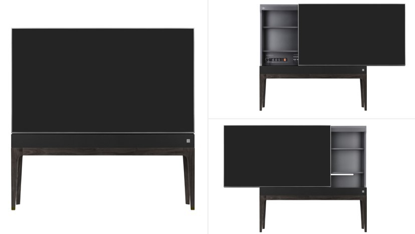 Front view of the display panel of LG Objet TV, which serves as a sliding door for hidden storage, with it slid to the right, left and closed.