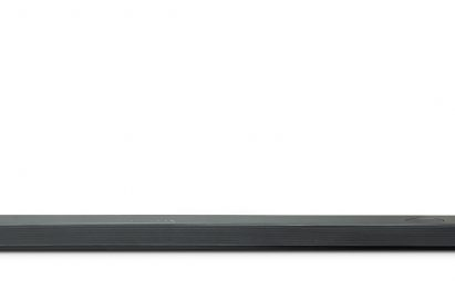 A front view of LG Soundbar model SL10YG and LG Wireless Rear Speaker Kit model SPK 8