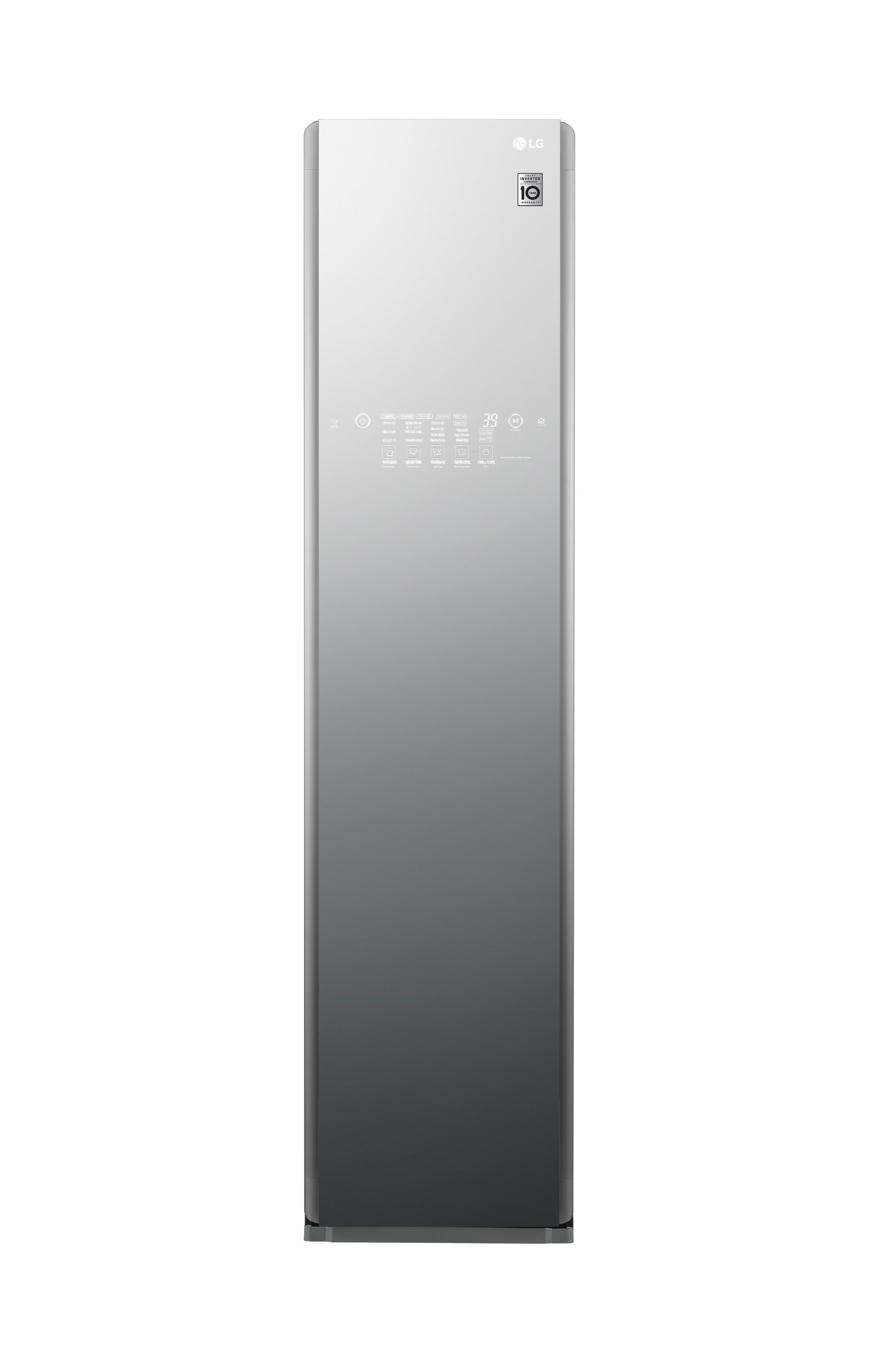 Front view of LG Styler Black Tinted Mirror Glass Door with 3 hangers