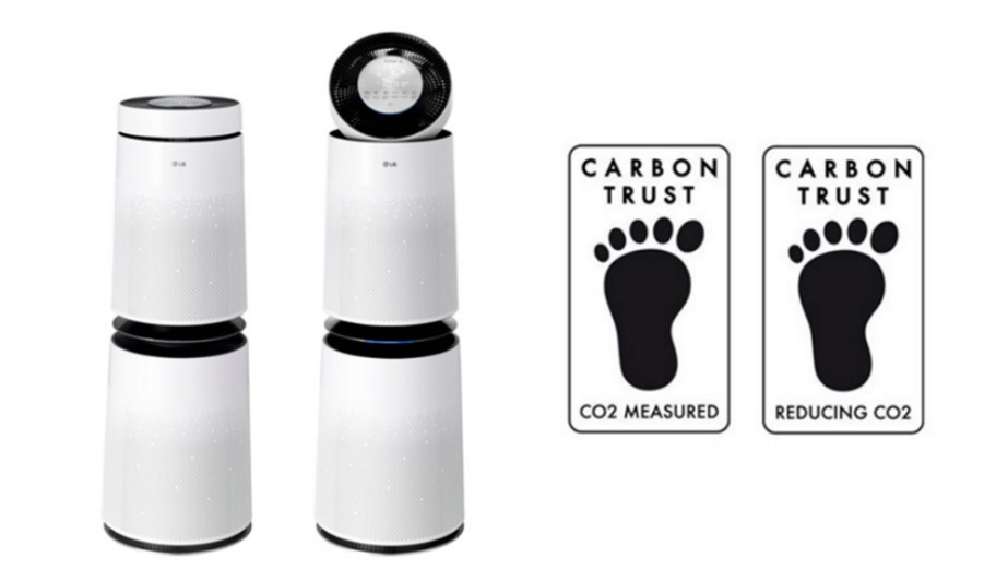 A front view of the LG PuriCare 360° air purifiers with two Carbon Trust Product Certifications which recognize LG's effort to measure and reduce CO2 emissions
