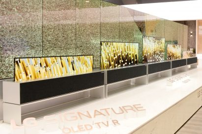LG OLED TV R displayed in a row and in multiple viewing modes at LG's CES 2019 booth
