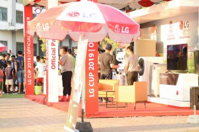 LG's promotion booth at the entrance of the stadium during a game of the ASEAN Football Federation U-22 Championship