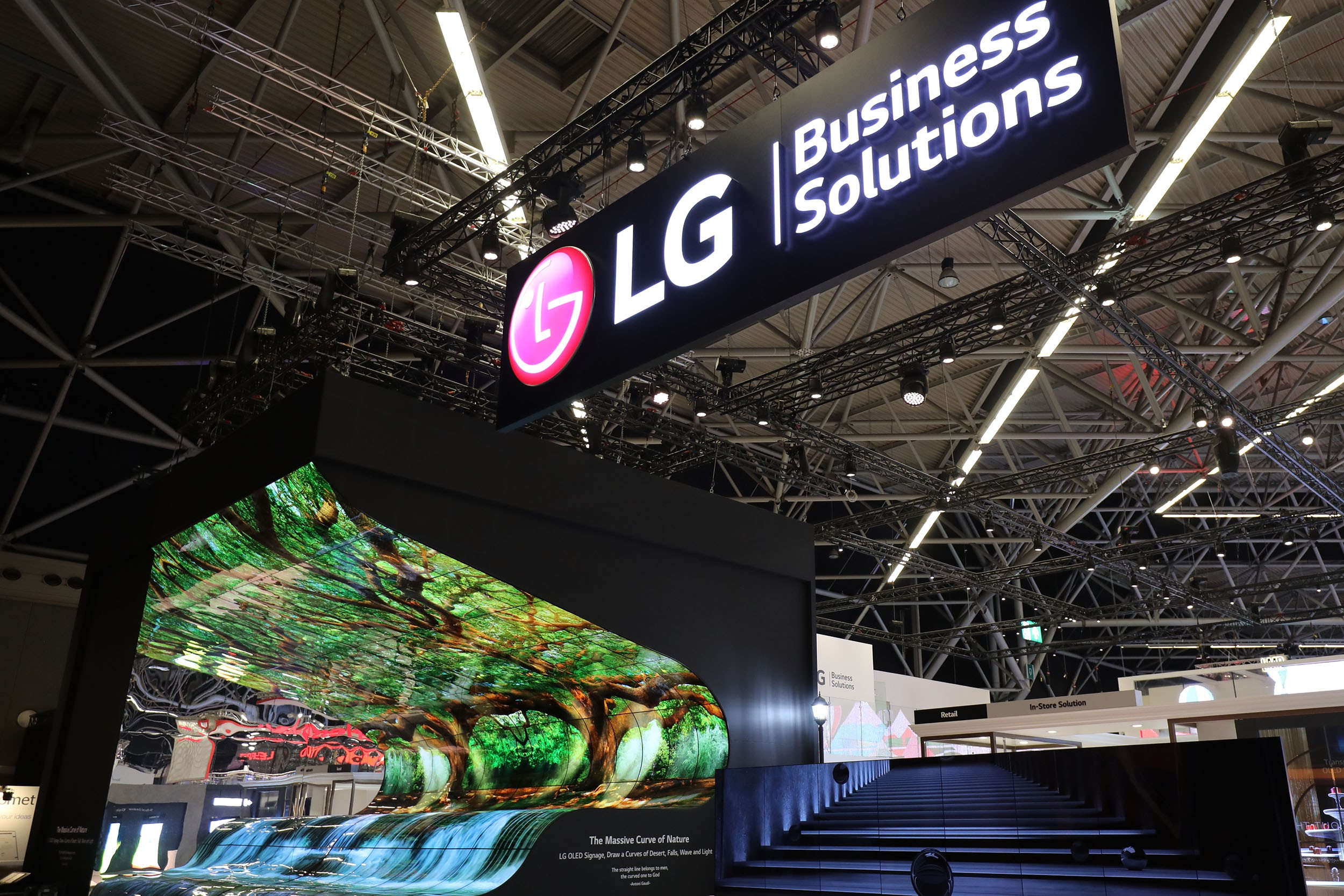 A panorama view of LG's booth at ISE 2019.