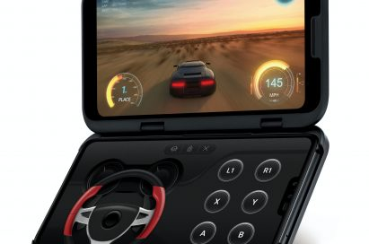 The front, side view of the LG V50 ThinQ 5G and the LG Dual Screen, with the Dual Screen showing a car game and the main screen displaying the LG Game Pad
