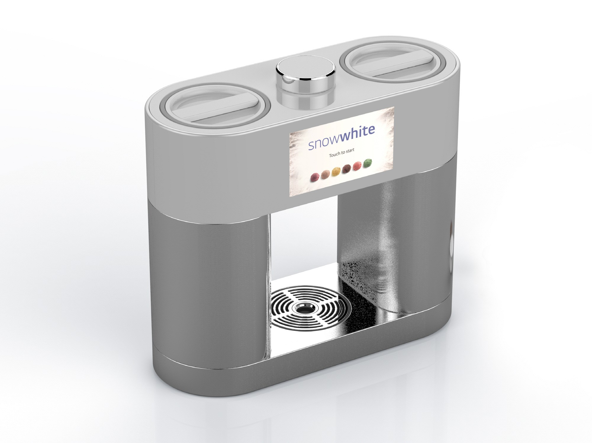 A 45-degrees clockwise view of LG's personal ice cream maker prototype, snowwhite