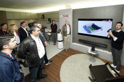 A male presenter introduces main features of LG's AI-enabled OLED TV.
