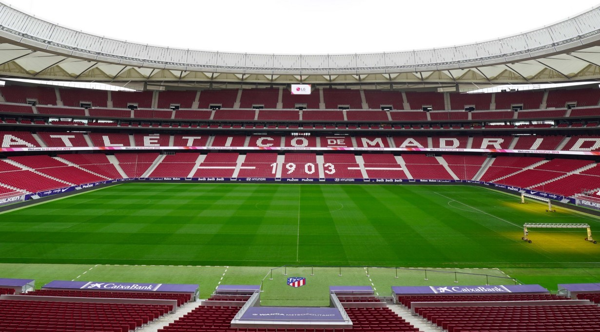 The inside view of the Wanda Metropolitano Stadium, the home ground of Atlético Madrid football club
