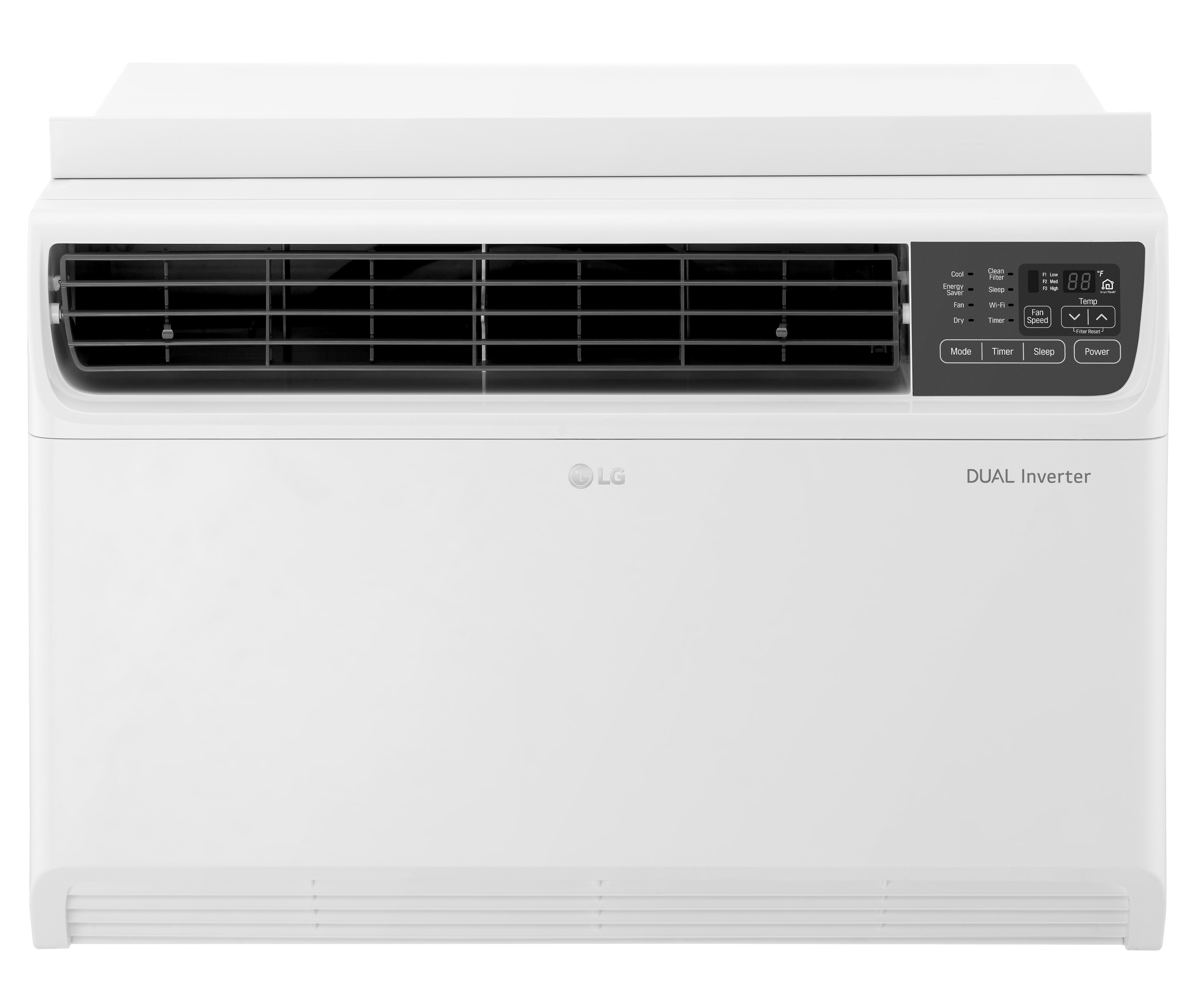 A front view of the LG DUAL Inverter Smart Wi-Fi-enabled Window Air Conditioner